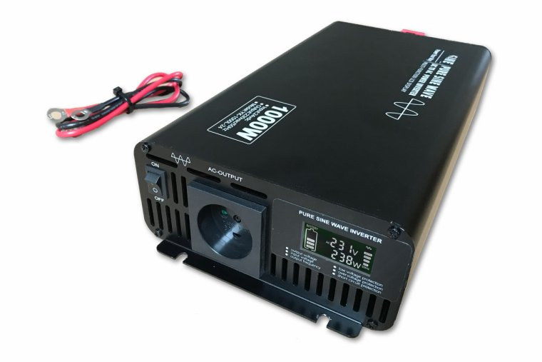 1000W 12V->230V Inverter m/Display - ren sinus