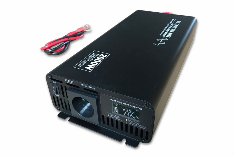 2000W 24V->230V Inverter m/Display - ren sinus